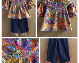 Hippie Print Peasant Top with Denim Ruffle Pants, size 4t