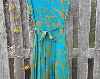 Vintage 1960's Psychedelic Mod Scenic Drop Waist Pleated Sleeveless Dress, Size S/M