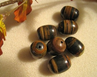 Brown, Tan And Rust Banded Jasper Barrels - 20mm x 16mm - Sets of 7
