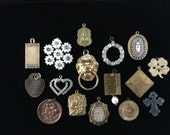 Vintage destash jewelry parts, charms, medals, pendants some with rhinestones