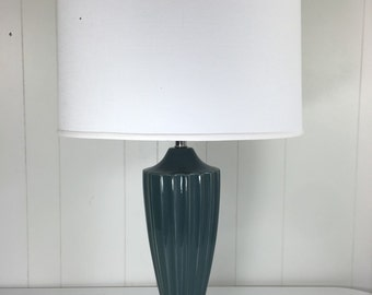 Teal Scalloped Ceramic Lamp