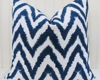Blue Pillow, Chevron Pillow, Throw Pillow Cover, Zig Zag Blue and White Premier Prints Diva Navy, Cushion Cover