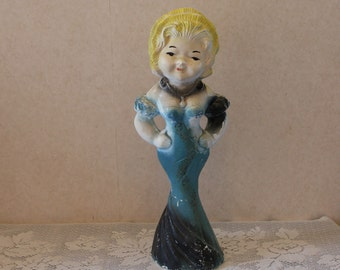 Vintage Mae West Carnival Prize Chalk Chalkware Doll - 1930s