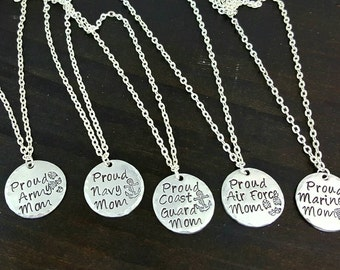Proud Military Mom Necklace, Army, Navy, Coast Guard, Marines, Air Force , Handmade by Miss Ashley Jewelry