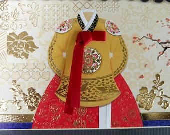 Korean Traditional Designed Envelope with Memo Card - Korean Traditional Cloth Hanbok 5
