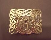 IRISH KILT BUCKLE solid bronze artist signed Don McKee vintage 1994
