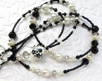FLORAL ELEGANCE- Beaded ID Lanyard-  Sparkling Crystals, Glass Pearls, and Silver Accents -(Magnetic Clasp)