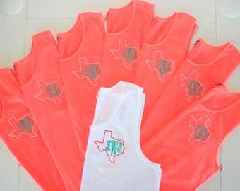 Set of 10 Monogram Tank Top Bachelorette Beach Party Swim Suit Cover Personalized Custom Embroidery Set of 10