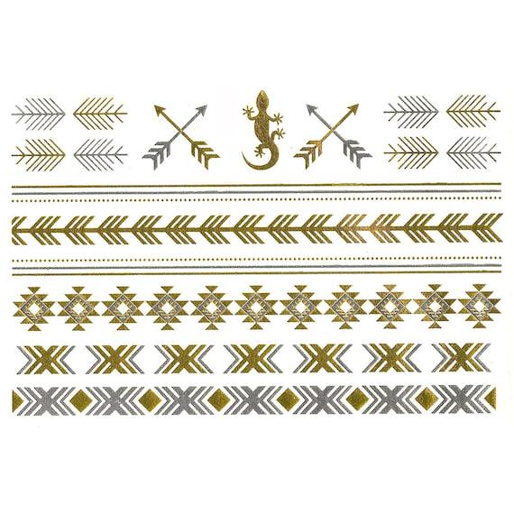Temporaire doré et argent natifs inspirés tatouages - tatouages métalliques plage - festival bijoux - - flash, parti, amusement, cadeau, plage