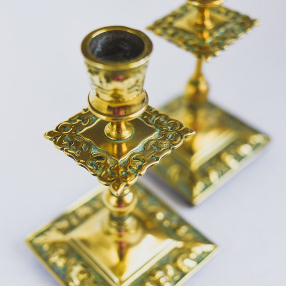 Two Antique candle holders, Pair of Traditional Antique English Brass Candleholders