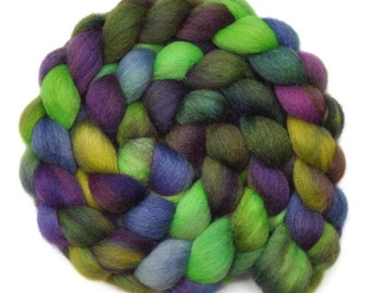 Hand painted roving - Silk / Falkland wool spinning fiber - 4.1 ounces - Under the Arbor 1