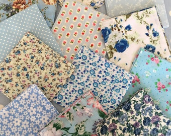 "40 x 5"" blue cotton fabric patchwork squares ,sewing,patchwork,quilt,quilt making,crafts,childrens crafts"