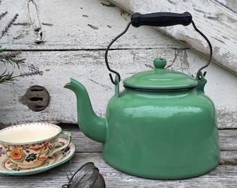 Vintage Enamelware Teapot - Mint Green - Black Handle