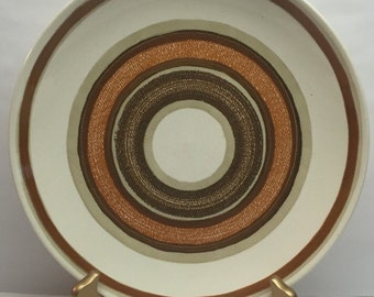 Royal China Dinner Plate Jeanette Corporation Ironstone Santa Fe ivory with brown and orange stripes