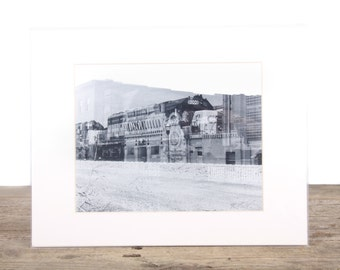 Original Fine Art Photography / Double Exposure Film / Black and White Street Photography / Train Architectural Unique Photography B&W