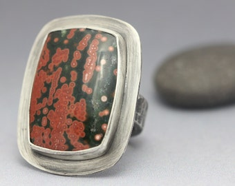 Ocean Jasper & Sterling Ring, Statement Ring, Unisex, Pink Red Green, Size 7.5