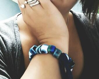 EcoFriendly Bracelet Evil Eye Bracelet Repurposed Bracelet Handmade Evil Eye Bracelet Recycled TShirt Bohemian Bracelet Ecofriendly Jewelry