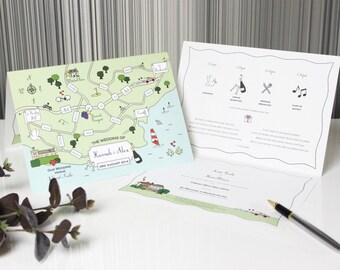 Custom Map Folded Card Wedding Invitations | Unique Invitation | Travel Theme Invitation | Modern Invitation | Luxury Invitation