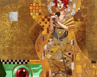 Transistor Red Gustav Klimt Inspired GOLD FOIL Poster Print Art
