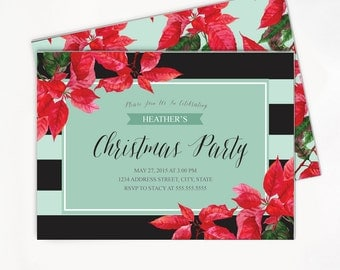 Printable Christmas Invitation with Poinsettia - Ornament Exchange Party Invite - Black and White Strips with Mint