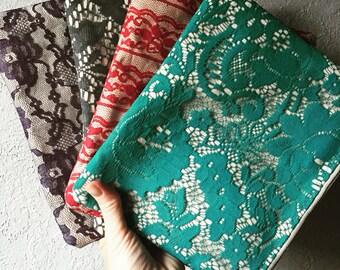 Canvas Lace Zipper Pouch Clutch Make up bag diaper bag accessory Custom colors
