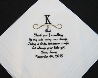 Embroidered Wedding Handkerchief for Father of the Bride
