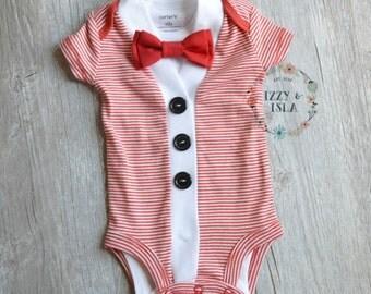 Baby Boy's Cardigan Onesie Set - Red Striped Short Sleeve Cardigan & Bow Tie Set- Little Mister Onesie Set-Little Boy Cardigan Set