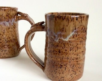 Handmade Large Coffee Mug, Rustic Pottery Mug, Thumb Rest Handle