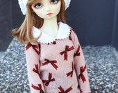 SAYOKO outfit fit 10/13 SD super dollfie 1/3 BJD - Pink bow sweater (No.A578)
