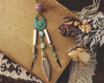 Turquoise & Earth Gypsy Trinket Necklace
