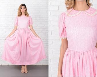 Pink Maxi Dress White Vintage 60s  Floral print Lace XS 7981 vintage dress 60s dress pink dress white dress floral dress xs dress lace