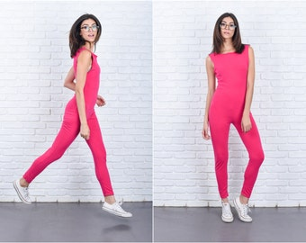Vintage 80s Pink Jumpsuit Catsuit Retro Sleeveless Cotton XS Small S 7616