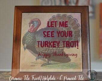"Trivet Hot Plate: Turkey Trot | 6"" Ceramic Tile Trivet Kitchen Accessory|Choose tile, tile with barnwood stand or mahogany frame trivet"