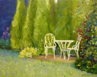 Garden Table Plein Air Original Oil Painting on Canvas