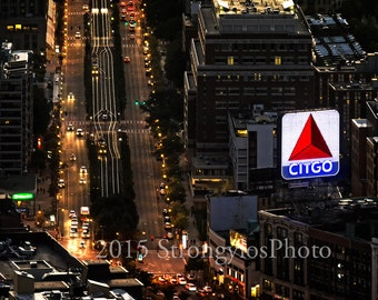 Boston, Citgo Sign at night, Red Sox fan, man cave gift, office art, StrongylosPhoto, FenwayPark