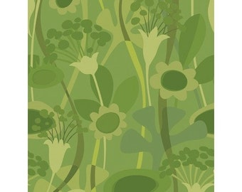 Seedheads Flowers on Green from Clothworks Fabrics by Cary Phillips