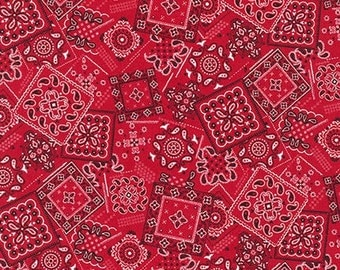 Bandana Squares on Red from Robert Kaufman's Sevenberry Collection