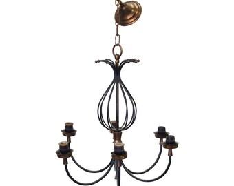 Vintage 1970s brass chandelier