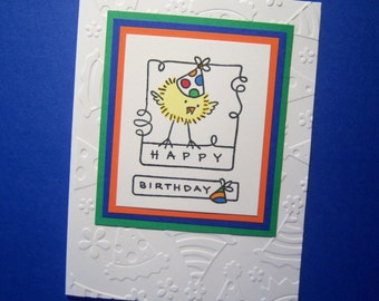 Chick with Party Hat Birthday Card