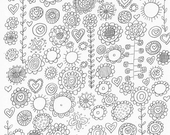 Flowers Adult Coloring Sheet