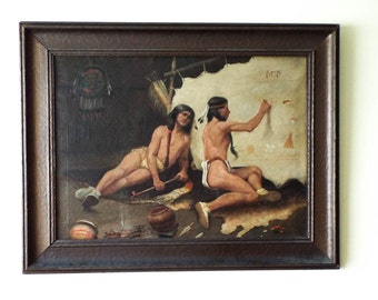 Antique Signed Carl Karl Moon Oil Painting on Canvas of Native American Indians, Unique Western Home Large Wall Hanging Art Decoration