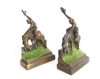 1930s Vintage Metal Decorative Bookends by Paul Herzel ~ Vintage Library Decor, Western Cowboy Decoration, Unique Birthday Present for Dad