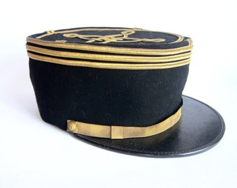 French Military Officers Wool Kepi - Size 6 3/4 ~ Unique Black Military Hat Gift for Men, Army Uniform Cap Dad Present, Grandpa Birthday