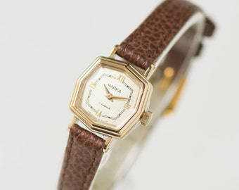 Modern women's watch Seagull rare, hexagon face woman watch, gold plated lady's watch 80s, small watch mechanical, premium leather strap new