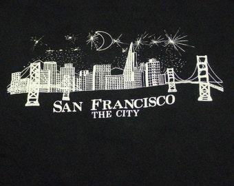 Vintage 80s San Francisco The City Skyline Black T-Shirt
