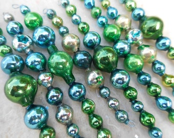 8 Vintage Blue and green icicle Ornaments Mercury Glass Garland Beads