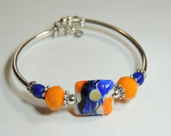 Handmade Silver Tube Unique NO CLASP  Lamp Glass Sunset Inspired Bracelet