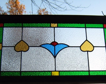 Victorian Traditional transom STAINED GLASS WINDOW leaded panel-blue tulipe,old solid stained frame,ready to hang