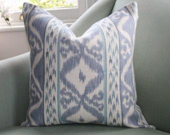 Pale Blue Ikat Cowtan and Tout Rapallo Cushion Pillow