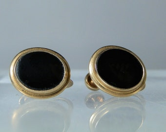 Vintage 10k Yellow Gold Black Onyx Screw Back Earrings Mourning Jewelry 15.70 x 12.40 mm Marked BDA Excellent Condition DanPickedMinerals